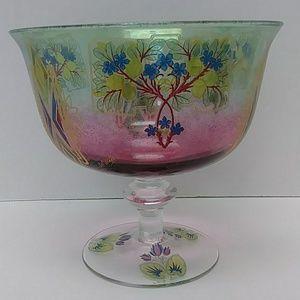 Vintage signed green & pink lemon vase